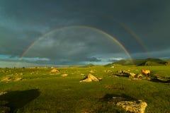 Gestalten Sie mit einem doppelten Regenbogen über einem breiten Feld- und Weiden lassenpferd landschaftlich Stockbild