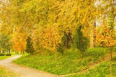Gestalten Sie mit einem Fußweg im Herbstpark landschaftlich Lizenzfreie Stockbilder