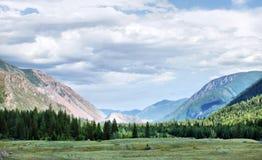 Gestalten Sie mit einem grünen Tal und den Bergen im Abstand landschaftlich Stockbild