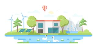 Gestalten Sie mit einem Teich - moderne flache Designart-Vektorillustration landschaftlich Stockbild