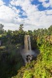 Gestalten Sie mit einem Wasserfall landschaftlich, der durch wilden Wald Kenia, Afrika umgeben wird Stockfotos