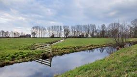 Gestalten Sie mit einer grünen Wiese, einem Abzugsgraben und einem bewölkten Himmel, die Niederlande landschaftlich Lizenzfreies Stockfoto