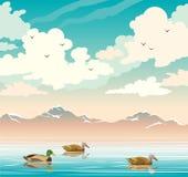 Gestalten Sie mit Enten, See, Bergen und bewölktem Himmel landschaftlich