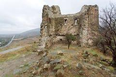 Gestalten Sie mit kleinen Bäumen auf dem Bereich von alten Ruinen, alte Festung mit Backsteinmauern landschaftlich Lizenzfreie Stockfotografie