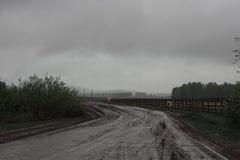 Gestalten Sie mit Landstraße, -regen und -nebel landschaftlich Lizenzfreie Stockfotos