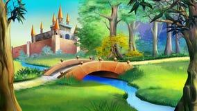 Gestalten Sie mit Märchenschloss und kleiner Brücke über dem Fluss landschaftlich stock abbildung