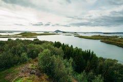 Gestalten Sie mit Wald und Meer und bewölkter Himmel landschaftlich Lizenzfreie Stockfotos