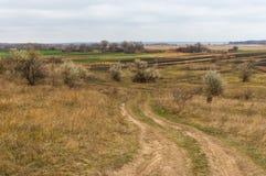 Gestalten Sie nahe Dorf Mishurin Rog in Mittel-Ukraine landschaftlich Stockfoto