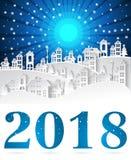 Gestalten Sie Stadt-Dorf in der Wintersaison mit neuem Jahr 2018 und u landschaftlich stock abbildung