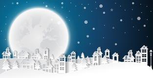 Gestalten Sie Stadt-Dorf im städtischen Wintersaisonweihnachten und -guten Rutsch ins Neue Jahr landschaftlich lizenzfreie abbildung