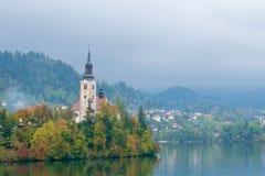 Gestalten Sie umgebende alte barocke Kirche auf Bled Insel in Slowenien landschaftlich Stockfotografie