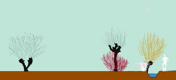 Gestalten Sie Versuch in der Winterlandschaft, Zeichnung, transparece, beschnittene Bäume landschaftlich Stockfotografie