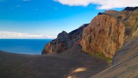Gestalten Sie zum Capelinhos-Vulkankessel, Faial, Azoren, Portugal landschaftlich lizenzfreies stockfoto