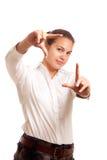 Gestaltengesicht der jungen Geschäftsfrau Lizenzfreie Stockbilder