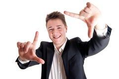 Gestaltengesicht des jungen Geschäftsmannes Stockfotos