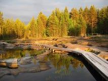 Gestaltet Himmelland-Waldwasser landschaftlich Lizenzfreie Stockfotografie