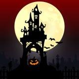 Gestaltung der Werbebotschaft, Abbildung Kürbis, Bäume, Schläger und Vollmond Halloween Lizenzfreie Stockfotos