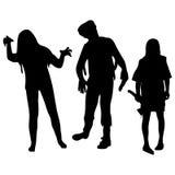 Gestaltung der Werbebotschaft, Abbildung Schattenbilder von Zombies Zeichen werden über dem Hintergrund getrennt Lizenzfreies Stockbild