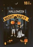 Gestaltung der Werbebotschaft, Abbildung Vektorillustration Plakat-Halloween-Partei mit Mädchen- und Jungenschwarzballonen mit ei stockfotografie