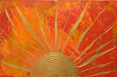 Gestaltungsarbeit mit goldener Sonne Lizenzfreie Stockfotos