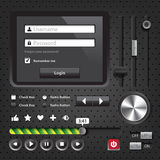 Gestaltungselement-dunkle Benutzerschnittstellen-Kontrollen stock abbildung