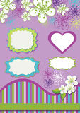 Gestaltungselement für Schablone. Frühlingsblumen, Linie  Lizenzfreies Stockfoto