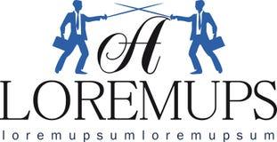 Gestaltungselement für das Logo, zwei Rechtsanwälte Stockfotografie
