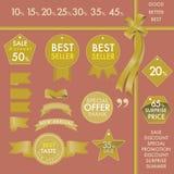 Gestaltungselement-Goldaufkleber auf gesetztem Konzept des Verkaufsschlagers Lizenzfreies Stockbild