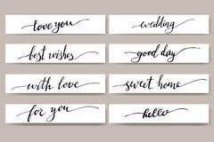 Gestaltungselemente für Postkarte Phrasen für Grußkarten Satz Hand geschriebene inspirierend Beschriftung Lizenzfreies Stockfoto