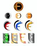 Gestaltungselemente mit dem Buchstaben E Lizenzfreies Stockfoto
