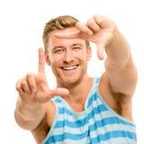 Gestaltungsphotographie des glücklichen Mannes Stockfotos