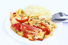 Gestampfte Kartoffeln und Gemüseomelett Lizenzfreie Stockfotos