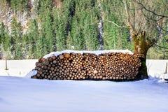 Gestapeld brandhout De winter alpiene landelijke scène Stock Foto