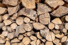 Gestapeld brandhout in de zon royalty-vrije stock afbeeldingen