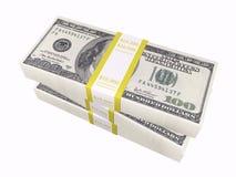 Gestapeld contant geld op witte achtergrond Stock Afbeeldingen