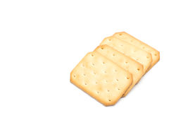 Gestapeld die crackers op witte achtergrond worden geïsoleerd Royalty-vrije Stock Fotografie