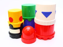 Gestapeld Plastic Speelgoed Royalty-vrije Stock Afbeeldingen