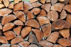 Gestapeld, spleet, brandhout Royalty-vrije Stock Foto's
