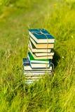Gestapelde boeken in gras, buiten Royalty-vrije Stock Foto's