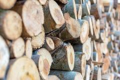 Gestapelde brandhout de stapel hakte houten boomstammen, close-up houten achtergrond royalty-vrije stock afbeelding