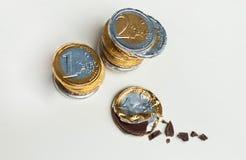 Gestapelde chocolade euro muntstukken, investeringsconcept Royalty-vrije Stock Foto's