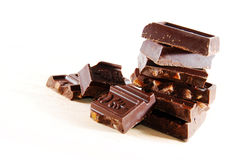 Gestapelde chocoladeblokken stock fotografie