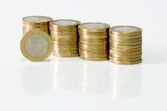 Gestapelde Euro Muntstukken Royalty-vrije Stock Afbeelding