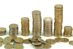 Gestapelde Euro Muntstukken Stock Afbeeldingen