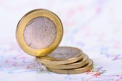 Gestapelde Euro muntstukken op grafiek Stock Afbeeldingen