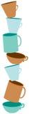 Gestapelde koffiekoppen stock illustratie