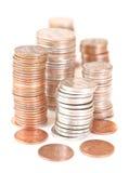 Gestapelde muntstukken Stock Foto's