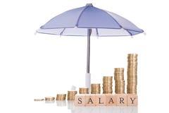 Gestapelde Muntstukken en Salarisblokken onder Paraplu royalty-vrije stock afbeelding