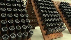 Gestapelde oude wijnflessen in de kelder stock footage