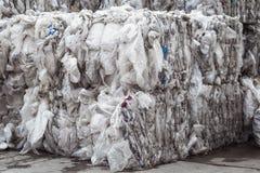 Gestapelde stapels van plastic film voor recycling royalty-vrije stock foto's